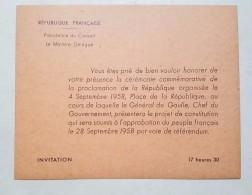 Carte D'Invitation Général De Gaulle Cérémonie Commémorative Proclamation De La République - Dokumente