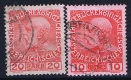 Austria: Levant  Mi Nrs 62 + 45  Yv 16 + 46a  Glansloz. - Oriente Austriaco