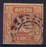Bayern Mi Nr 13b  Lebhaft Orangerot Used - Bayern