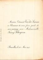 EDOUARD VAN DER SMISSEN FANNY SCHEYVEN BRUXELLES 1895 - Mariage