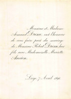 ARMAND DRESSE ROBERT MARIETTE ANCION LIEGE 1896 - Mariage