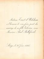 ERNST D UDEKEM VICTORINE PAUL BELLEFROID LIEGE 1895 - Mariage