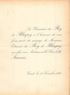 DU ROY DE BLICQUY EDOUARD ELISABETH SIMONIS GAND1895 - Mariage