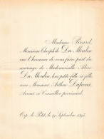 PIRARD THEOPHILE DU MOULLIN ALICE ARTHUR DUPONT AVOCAT ORP LE PETIT 1895 - Mariage