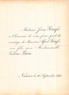 JEAN GRAFE ALFRED VALERIE PRION NAMUR 1895 - Mariage