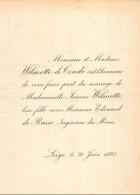 WILMOTTE DE CONDE JEANNE EDOUARD DE RASSE LIEGE 1895 - Mariage