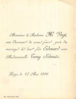 VOGT EDOUARD TONY SCHMITZ LIEGE 1896 - Huwelijksaankondigingen