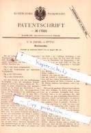 Original Patent  - F. M. Jahnel In Zittau , 1881,  Waschmaschine !!! - Historische Dokumente