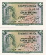 PAREJA CORRELATIVA DE 5 PTAS DEL AÑO 1935 SERIE D SIN CIRCULAR-PLANCHA-UNCIRCULATED - [ 2] 1931-1936 : République