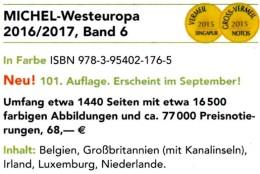 West-Europa Band 6 MICHEL Briefmarken Katalog 2017 Neu 68€ Belgica EIRE Luxemburg NL Greatbritain UK Jersey Guernsey Man - Tijdschriften: Abonnementen