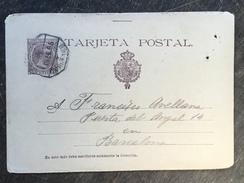 A18 Spanien Spain Espagne Ganzsache Stationery Entier Postal Mi. P 27I Mit Bahnpost Von Zaragoza Nach Barcelona - Stamped Stationery