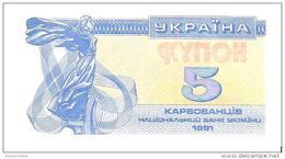 Ukraine - Pick 83 - 5 Karbovantsiv 1991 - Unc - Ucraina