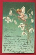 FJA-02  Bonne Fête, Ange Sur Bouquet De Fleurs. Relief, Gaufré, Précurseur. Cachet 1904 - Anges