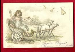 FJA-04 Enfant En Carosse Tiré Par Deux Moutons, Cloches, Joyeuses Pâques. Précurseur. Cachet 1905 - Pâques