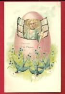 FJA-05 Souvenir De Pâques,  Princesse En Bleu à La Fenêtre , Bleuets. Fioritures En Relief. Précurseur.non Circulé - Easter