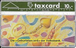 """PTT: K-90/27A 010G Schweizerische Volksbank """"Geburtstaxcard"""" - Schweiz"""