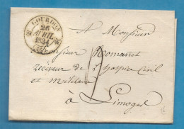 Lot - Gourdon Pour Le Receveur De L'hospice Civil Et Militaire à Limoges. LSC De 1834 - Marcophilie (Lettres)