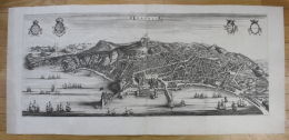 - Napoli Panorama Veduta Acquaforte Blaeu Mortier Stampa Map - Stiche & Gravuren