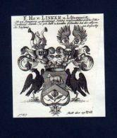 Freiherren V. Linker Kupferstich Wappen - Estampas & Grabados