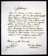 Handschriftliche Quittung über 20 Gulden Für Den Ankauf Eines Kupferstich-Portraits In Groß-Folio Des Prinz Eugen Zu Leu - Autographes