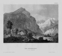 Reusstal Reuss Fluss Berge Gebirge Schweiz Suisse Original Stahlstich - Estampas & Grabados