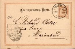 1895 - POSTEE A VIENNE - CACHET POSTAL ARRIVEE MARIENDBAD AU RECTO - ECRIT ET PROPRE - - Entiers Postaux