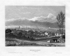 Birmingham Gesamtansicht West Midlands Engraving Original Stahlstich - Estampas & Grabados