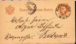 1880 - CACHET POSTAL ARRIVEE BUDAPEST - ECRIT ET PROPRE - - Entiers Postaux