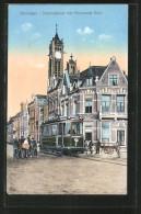 CPA Groningen, Stationstraat Met Hervormde Kerk, Tramway - Tramways