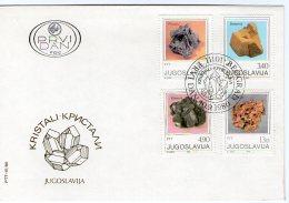 Yugoslavia 1980 Crystals - Minerals (Pyrrhotite, Dolomite, Sphalerite And Wulfenite), FDC Michel 1849-1852 - Minerals