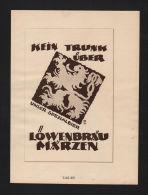 Ludwig Hohlwein Reklame Werbung Plakat Löwenbräu Goldsiegel Hütte Crefeld - Mapas