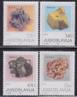 Yugoslavia 1980 Crystals - Minerals (Pyrrhotite, Dolomite, Sphalerite And Wulfenite), MNH (**) Michel 1849-1852 - Minerals