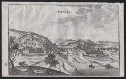 Meulan-en-Yvelines Seine Gravure Kupferstich Merian Engraving - Estampes & Gravures
