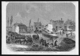 Sedan Donchery Bayrisches Lager Frankreich Krieg Wood Engraving Holzstich - Stiche & Gravuren