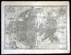 """""""Lutetia"""" - Paris Braun Hogenberg Map Plan Gravure Engraving Kupferstich - Stiche & Gravuren"""