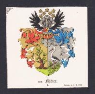 . Von Fischer Wappen Heraldik Coat Of Arms Heraldry Litho - Prints & Engravings