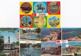 3 POSTCARDS:   IZMIR - Multiviews - Turkije