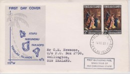 Tokelau FDC Mi 13 Christmas - Nativity By Federico Fiori- 1969 - Cancellation In Nukunonu - Tokelau