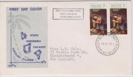 Tokelau FDC Mi 14 Christmas - Nativity By Correggio - 1970 - Cancellation In Nukunonu - Tokelau