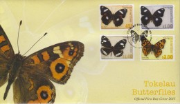 Tokelau FDC Mi 437-440 Butterflies - Blue Moon (Hypolimnas Bolina Pallescens) - Common Crow (Euploea Lewinii Bourkei) - Tokelau