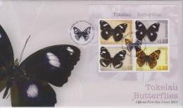 Tokelau FDC Block Mi 51 Mi 437-440 Butterflies - Blue Moon (Hypolimnas Bolina Pallescens) - Common Crow (Euploea Lewinii - Tokelau