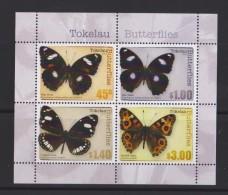 Tokelau Block Mi 51 - Mi 437-440 Butterflies - Blue Moon (Hypolimnas Bolina Pallescens) - Common Crow (Euploea Lewinii - Tokelau