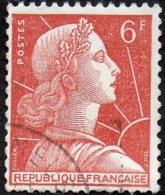 Oblitération Cachet à Date Sur Timbre De France N° 1009 A - Marianne De Muller 6fr Brun-orange - Roulette - Oblitérés