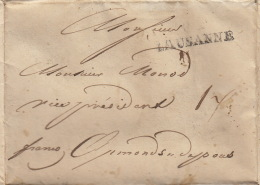 Linéaire : De Francfort à Lausanne 6. Sept. 1822, à Ormonds Dessous, Franco / Contenu Magnifique Imprimé - ...-1845 Prephilately