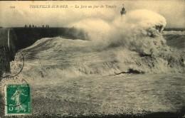N°836 QQQ LR 257  TROUVILLE  SUR MER LA JETEE UN JOUR DE TEMPETE - Trouville