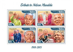 MALDIVES SHEET. TRIBUTE TO NELSON MANDELA. 2014. PERFORADO NUEVO. - Maldives (1965-...)