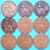 Grande Bretagne - Royaume Uni - 1 Penny Edward VII  1902 - 1906 - 1908 - 1909 Lot 9 Pièces Monnaies - 1971-… : Monnaies Décimales