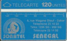 - SENEGAL SONATEL BLEUE 120 UNITES N° 012A00661 Inversé Bon état