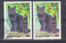 France  3283 Chats Chartreux Variété Violet Et Normal Oblitéré Used - Varietà: 1990-99 Usati