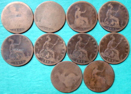 Royaume Uni - One Penny Victoria  1860 - 1862 - 1872 - 1889 - 1890 - 1892 - 1893 Lot 10 Pièces Monnaies - 1816-1901 : Coniature XIX° S.